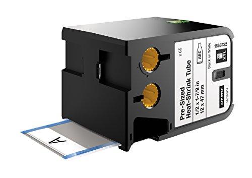 dymo-xtl-pre-sized-heat-shrink-tube-1-2-x-1-7-8-12-mm-x-47-mm-black-on-white