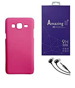 SAMSUNG Galaxy J2 PRINTZ Pink Hard Back Case Cover With Tempered Glass Screen Protector & 3.5mm Super Sound Quality Earphone with Mic Combo