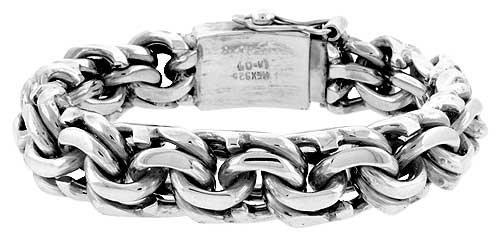 Gent's Sterling Silver Garibaldi Link Bracelet Handmade 1/2 inch wide, 8 inch (20.4 cm)