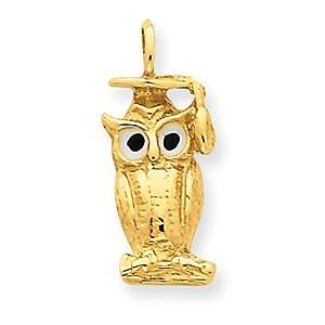 14k Grad. Owl Charm