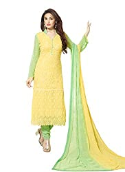 Zombom Yellow Georgette Embroidered Un-stitched Salwar Suit
