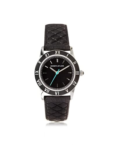 Kenneth Jay Lane Women's 3413 Black Quilted Leather Watch