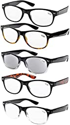Eyekepper 5-pack Spring Hinges 80\'s Reading Glasses Includes Sun Readers +1.75