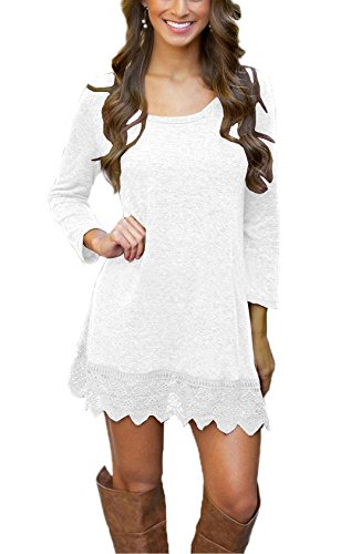Our Precious Women's Long Sleeve Tunic Lace Stitching Trim Casual Dress White S