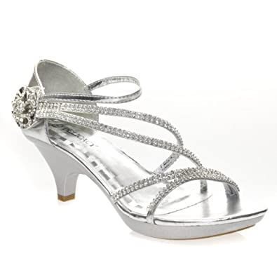 Womens silver sandals low heel