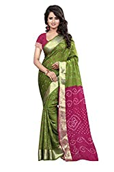 Parot Pink Coloured Bandhani Cotton Saree