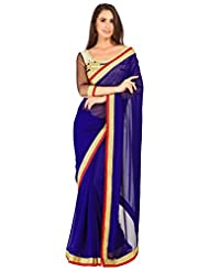 Admyrin Royal Blue Georgette Saree With Golden Blouse Piece