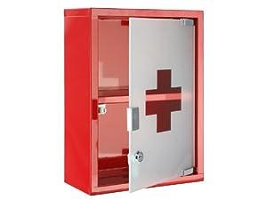 medizinschrank arzneischrank hausapotheke glas metall rot. Black Bedroom Furniture Sets. Home Design Ideas