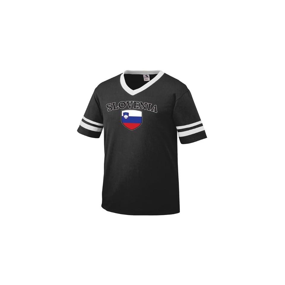 a8f2f13aafa Slovenian Flag Shield International Soccer Style V Neck T shirt on ...