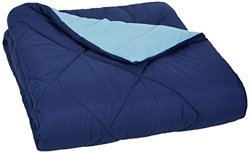 Buy AmazonBasics Reversible Microfiber Comforter - Full/Queen, Navy Blue