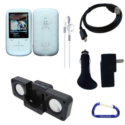 Gizmo Dorks Silicone Skin Case (White) and Executive Accessories Bundle for the Sandisk Sansa Fuze+ MP3 Player