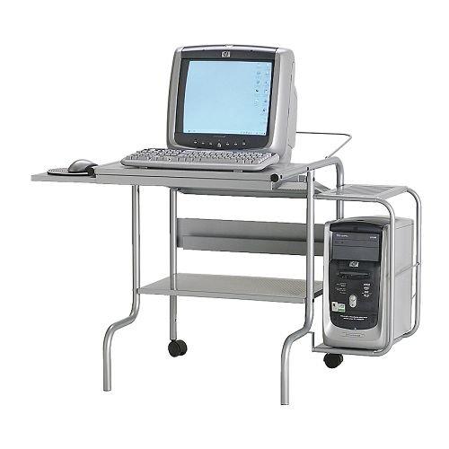 Krister Silver Metal Computer Desk - Ex Ikea Model