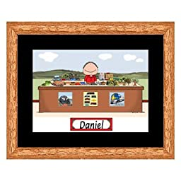 Train Lover Cartoon Print - Personalized