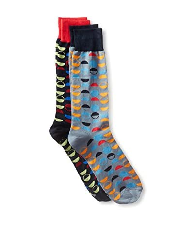 JARED LANG Men's Assorted Crew Sock Combo - 2-Pack, Multi Color, One Size