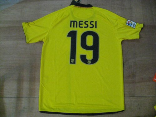 08-09 FC BARCELONA AWAY JERSEY MESSI + FREE SHORT (SIZE M)