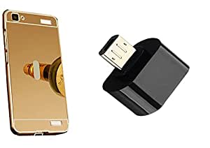 Novo Style Back Cover Case with Bumper Frame Case for Vivo V1  Golden +  Little Adapter Micro USB OTG to USB 2.0 Adapter for Smartphones & Tablets