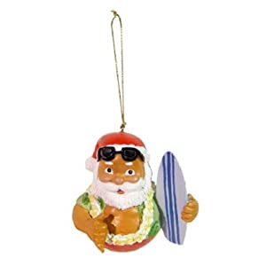 Hawaiian Santa with Surfboard Christmas Ball Ornament