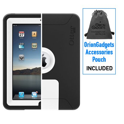 OtterBox Defender Case for Apple iPad (Black / White) (Includes OrionGadgets Accessories Pouch)