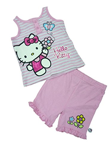 Hello Kitty Infant & Toddler Girls Pink & White Striped Tank Top Shorts Outfit