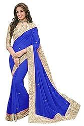 Sonani Fashion New Designer Blue Plain Georgette Party Wear Sarees With Blouse Piece