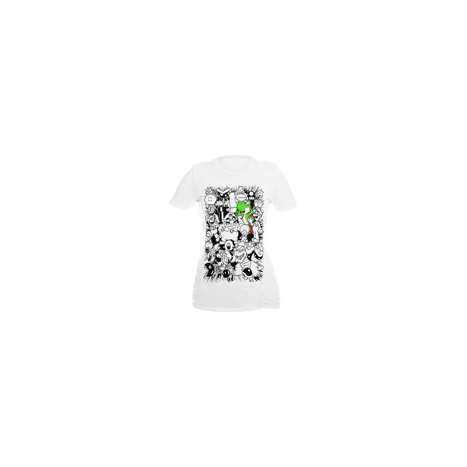 Nintendo Super Mario Bros. Yoshi Sketch Girls T Shirt Size  Medium