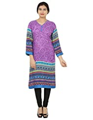 Adhaans Purple Printed Women's Kurti