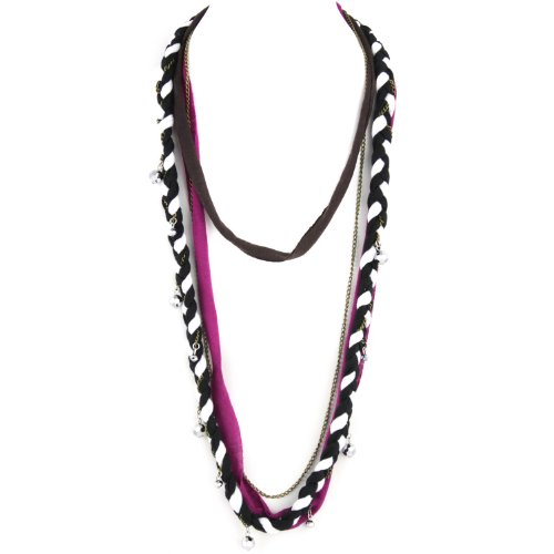 Soft Braided Fabric Layered Necklace - Crystal Cut Shimmery Beads - Brass Chain Link - Black White Fuschia & Brown