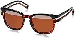 Police Mirrored Wayfarer Unisex Sunglasses (S1961M51N33HSG 51 Brown with top silver mirror lens)