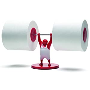 Mr T Designed Strong Man Weightlifter Bathroom Toilet Paper Tissue Roll Holder Red