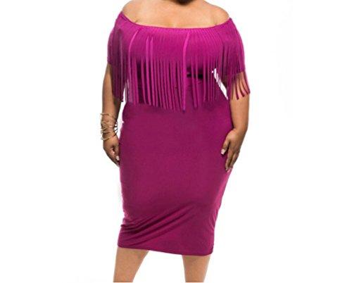 TomYork Short Sleeve Fringe Top Plus Size Dress(Rosy,3