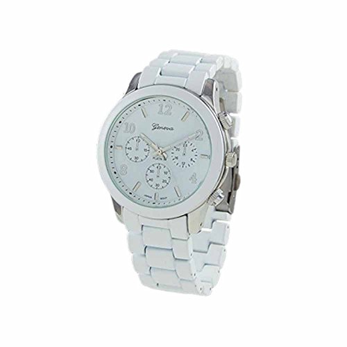 """The """"Boyfriend"""" Watch. Large Sized Ceramic Designer Style Fashion Watch With White Band And White Face With White Lining."""