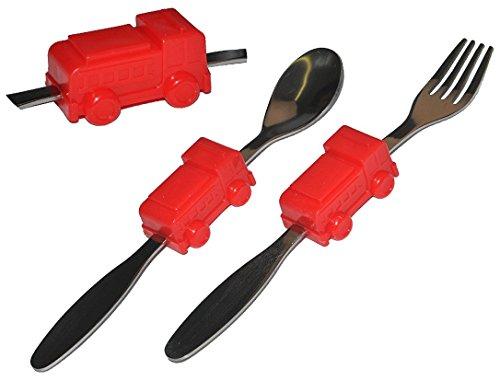 2-tlg-Besteckset-aus-Edelstahl-Gabel-Lffel-mit-Feuerwehr-Auto-Besteck-Kinderbesteck-Autos-fr-Jungen-Kinder
