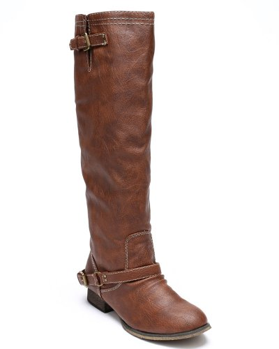 Breckelles Outlaw81 Women's Red Zipper Tall Riding Boots Tan 8.5 Picture