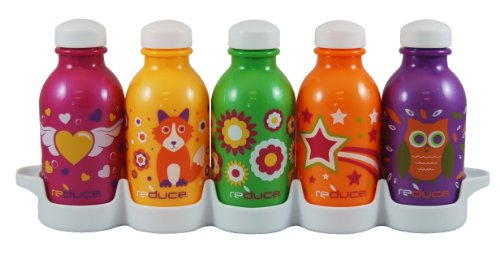 Reduce Waterweek Kids Cutie Water Bottles, 10-Ounce, Set Of 5 front-893752