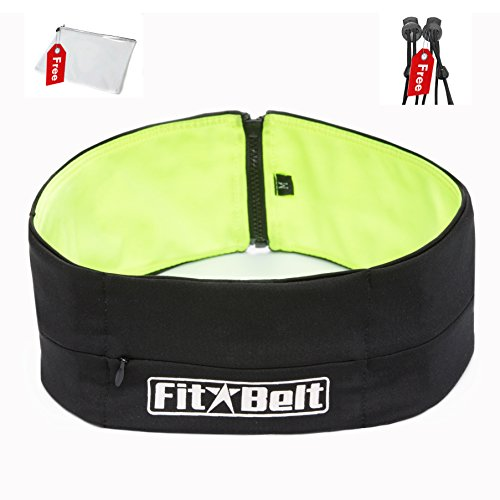 FitBelt - Top Quality Premium Running Belt & Top Rated Fitness workout belt for women and men - 2-IN-1 colors flipbelt + 2 Free Gifts - Lock laces for shoes & PVC mesh bag for your Apple iPhone 6 - LI