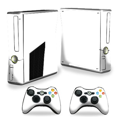 Protective Vinyl Skin Decal Cover for Microsoft Xbox 360 S Slim + 2 Controller Skins Sticker Skins Glossy White