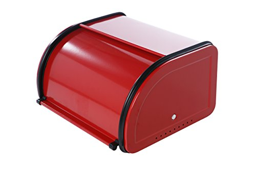 Roll Top Bread Box For Kitchen - Bread Bin Storage Container For Loaves, Pastries, and More 10 x 8.5 x 5.5 Inches, Red by Juvale (Retro Kitchen Bread Box compare prices)