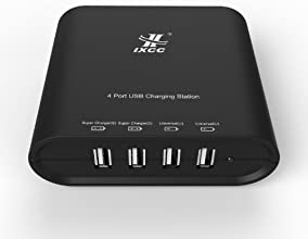 iXCC ® Quad USB 30W 6.2 Amp (31 Watt) SMART Family-Sized Charging Station High Capacity AC Wall Charger - ChargeWise (tm) Technology FAST Charging for Apple iPhone 5s/ 5c/ 5/ 6/ 6 Plus; iPad Air mini Generation; Samsung Galaxy S5 S4; Note 3 2; the new HTC One (M8); Google Nexus and More [Black]