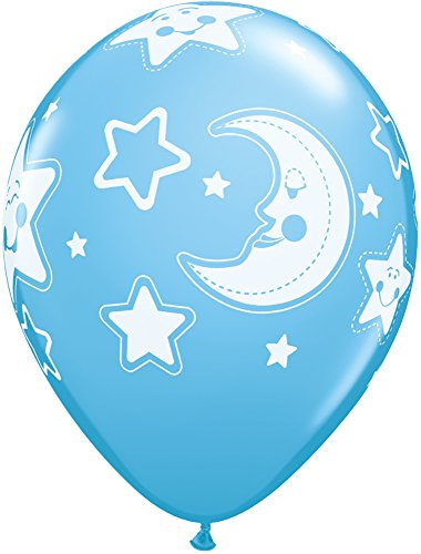 "Pioneer Balloon Company 5 Count Baby Moon & Stars Latex Balloon, 11"", Assorted"