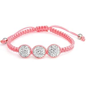 Bling Jewelry Pink Childrens Shamballa Inspired Bracelet White Crystal Bead 10mm