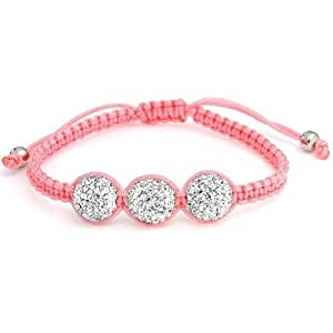 Christmas Gifts Pink Childrens Shamballa Inspired Bracelet White Crystal Bead 10mm Alloy