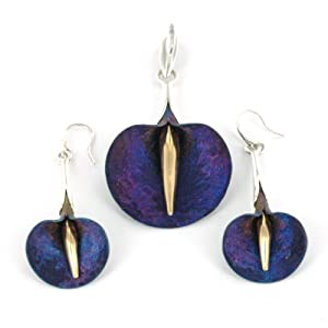 Sterling Silver and Titanium Lily Design Pendant and Earrings Set - Hand Designed by Adam Wyspianski