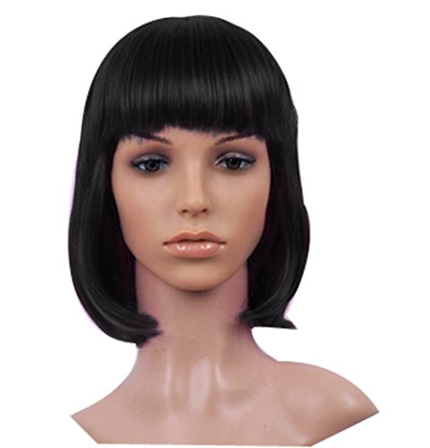 Hot Popular Girls Fashion Halloween Party Bobo Head Color Wig-Black