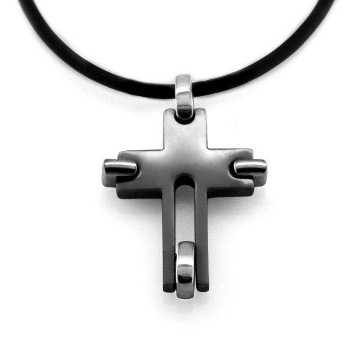 Men's Grey Titanium Movable Cross Pendant Necklace , 20