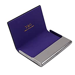 Purple name card holder mens gift Black Stainl?ess Steel Y&G leather card holder with gift box CC1003