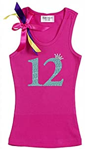 Bubblegum Divas Big Girls' 12th Birthday Pink Princess Crown Tank Top Shirt 7-8
