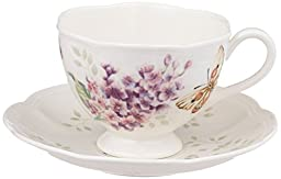 Lenox Butterfly Meadow Orange Sulphur 8-Ounce Cup and Saucer Set