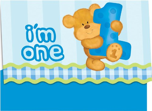 Creative Converting Bears First Birthday Party Invitations, Blue, 8 Count