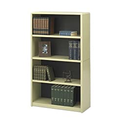 Safco Products 7172SA 4 Shelf Bookcase, 31-3/4 in.x13-1/2 in.x54 in., Sand