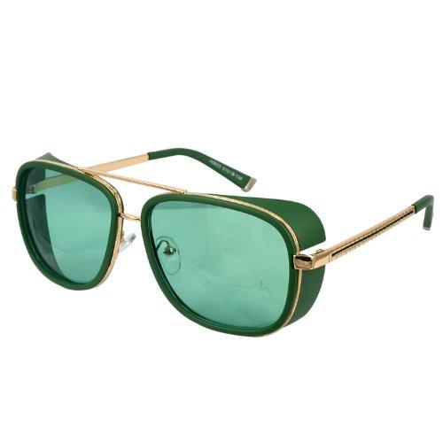Unisex Retro Side Shields Steampunk Sunglasses in Green